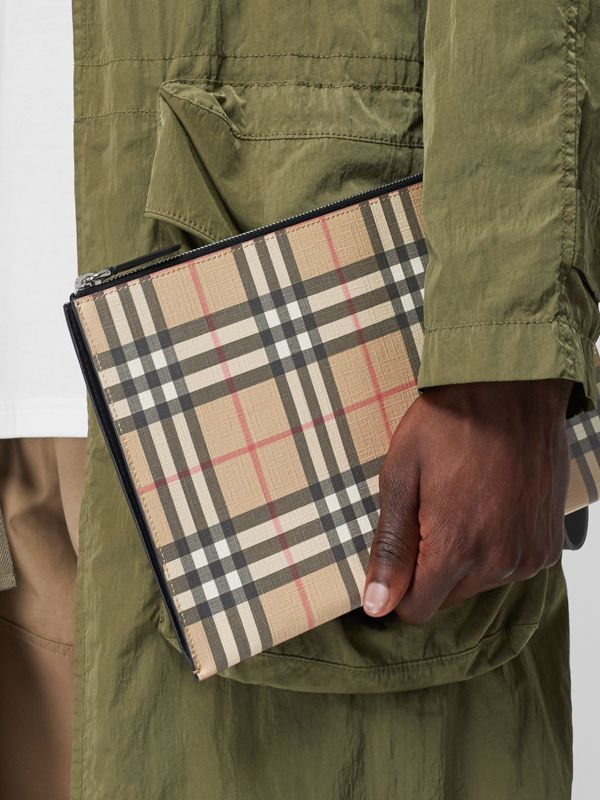 Vintage Check E-canvas and Leather Zip Pouch in Archive Beige - Men | Burberry - cell image 2