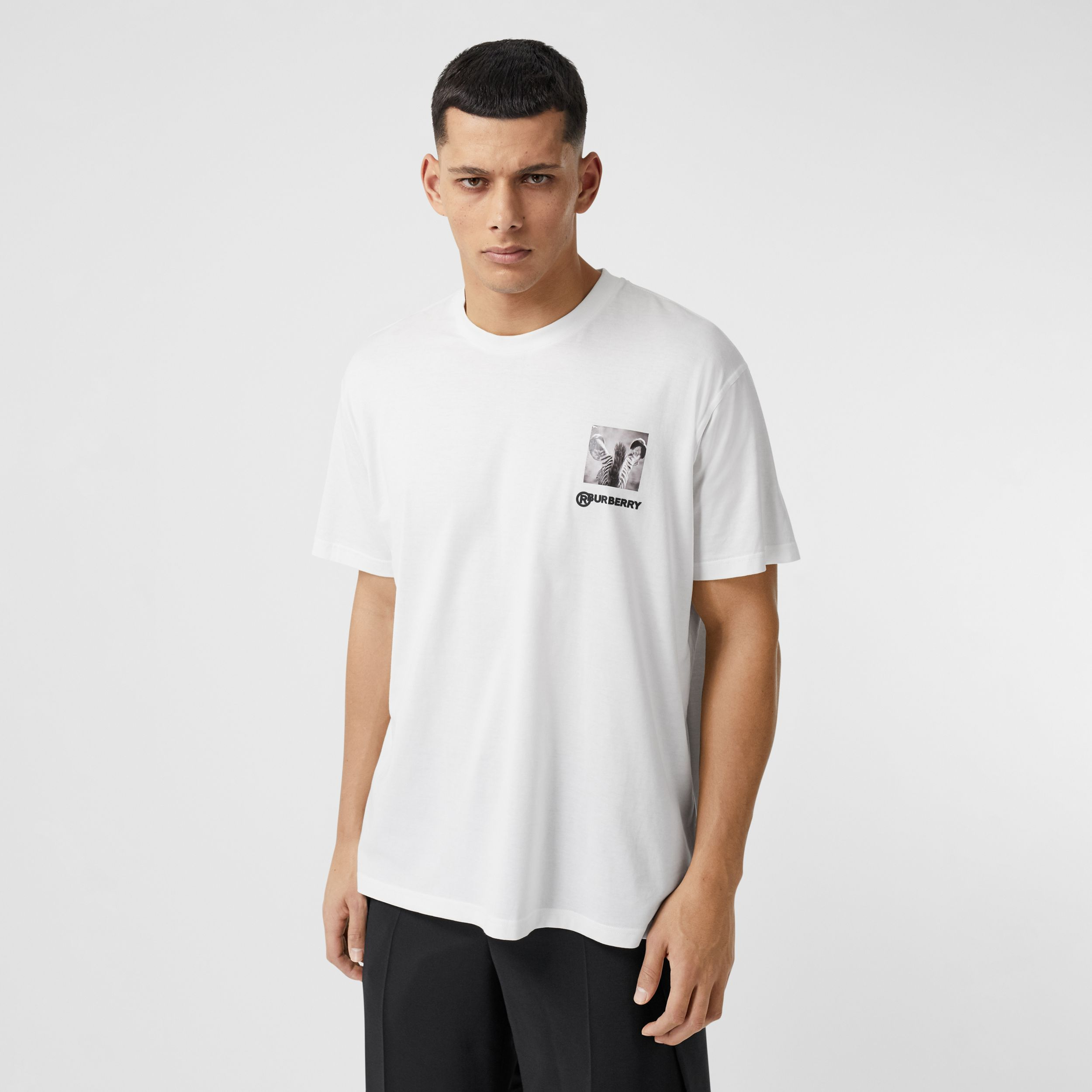 Montage Print Cotton Oversized T-shirt in Optic White - Men | Burberry - 1
