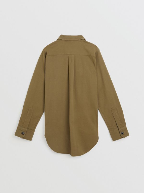 Stencil Print Cotton Wool Army Shirt in Olive | Burberry - cell image 3