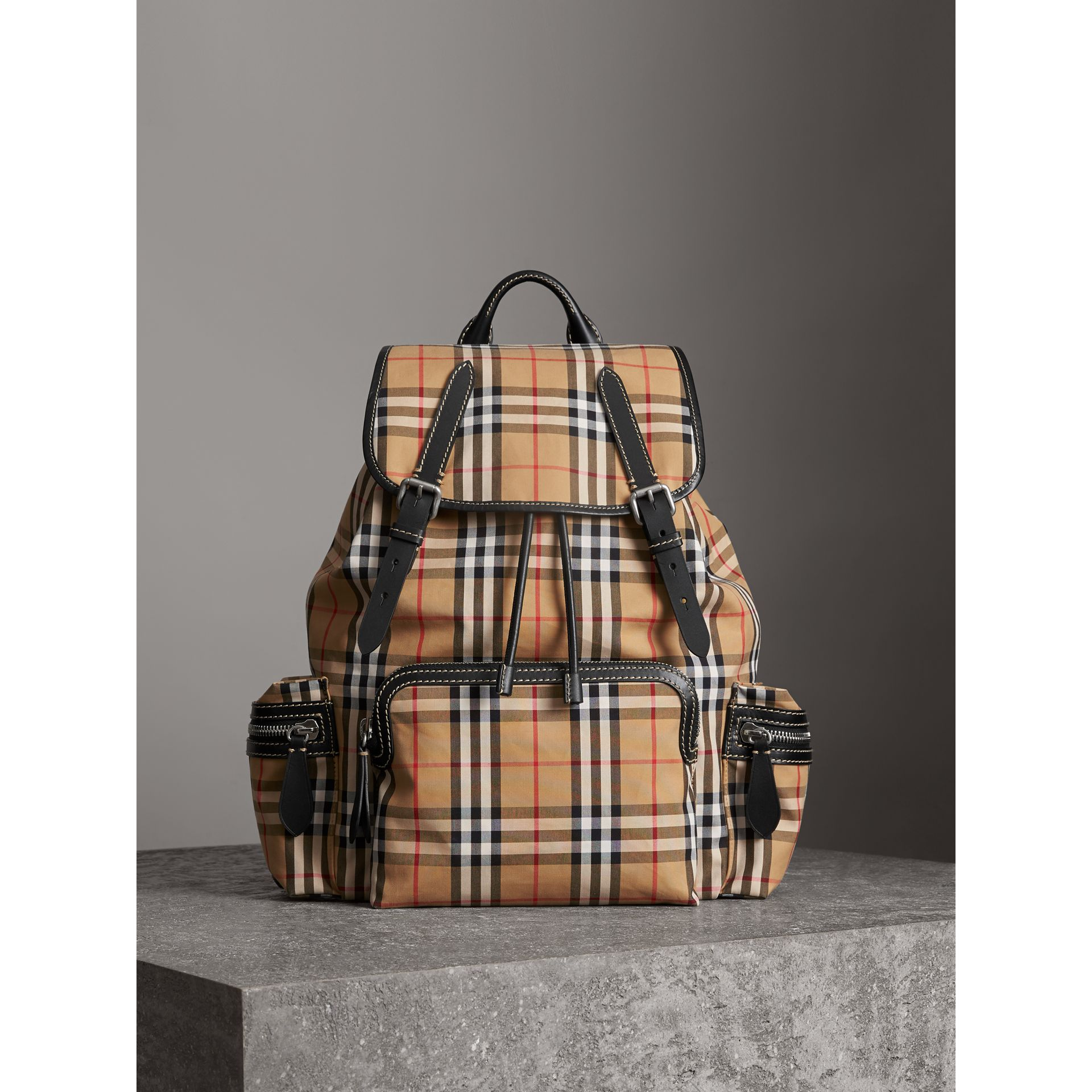 The Large Rucksack in Vintage Check in Antique Yellow - Men | Burberry United Kingdom - gallery image 5