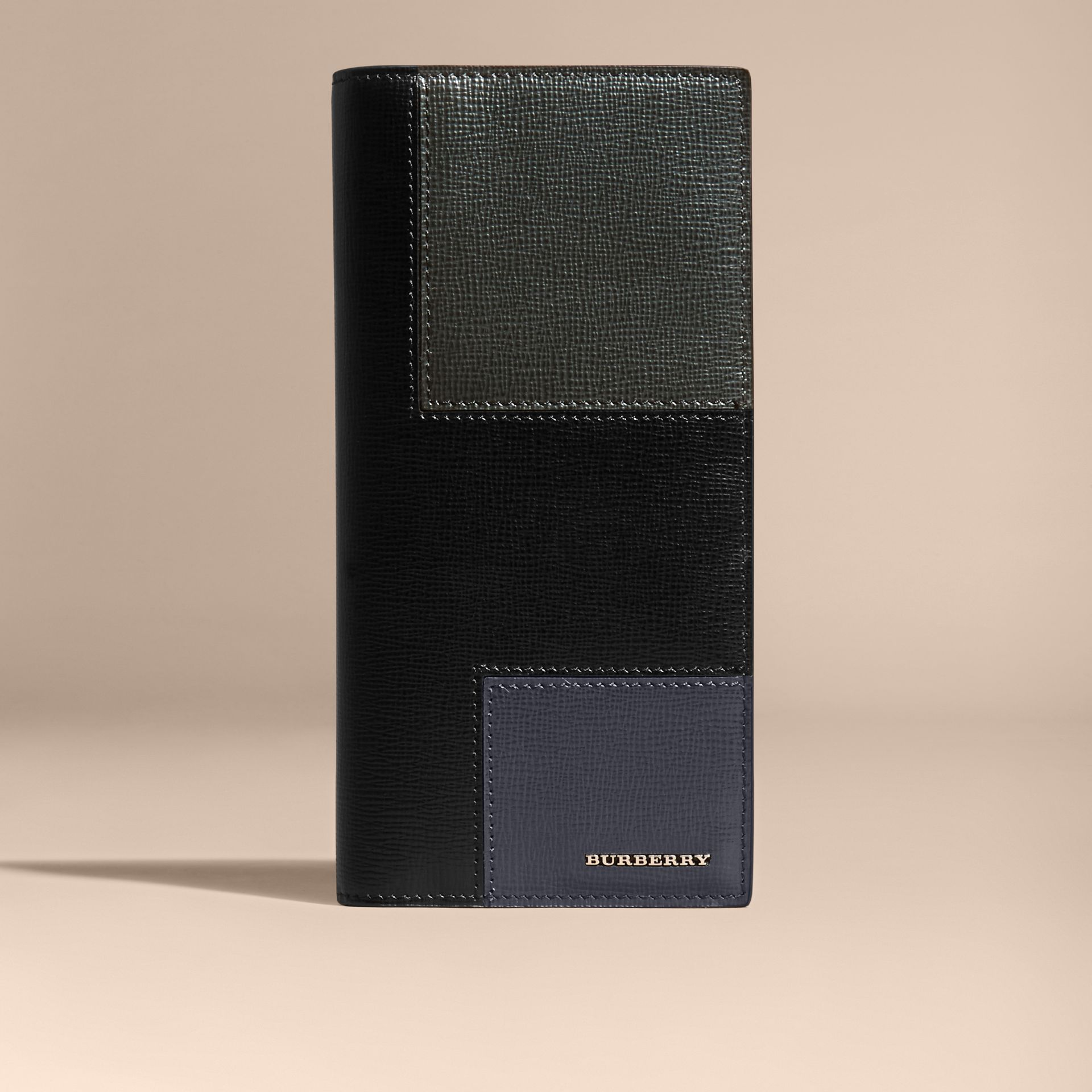 Black Patchwork London Leather Continental Wallet Black - gallery image 6