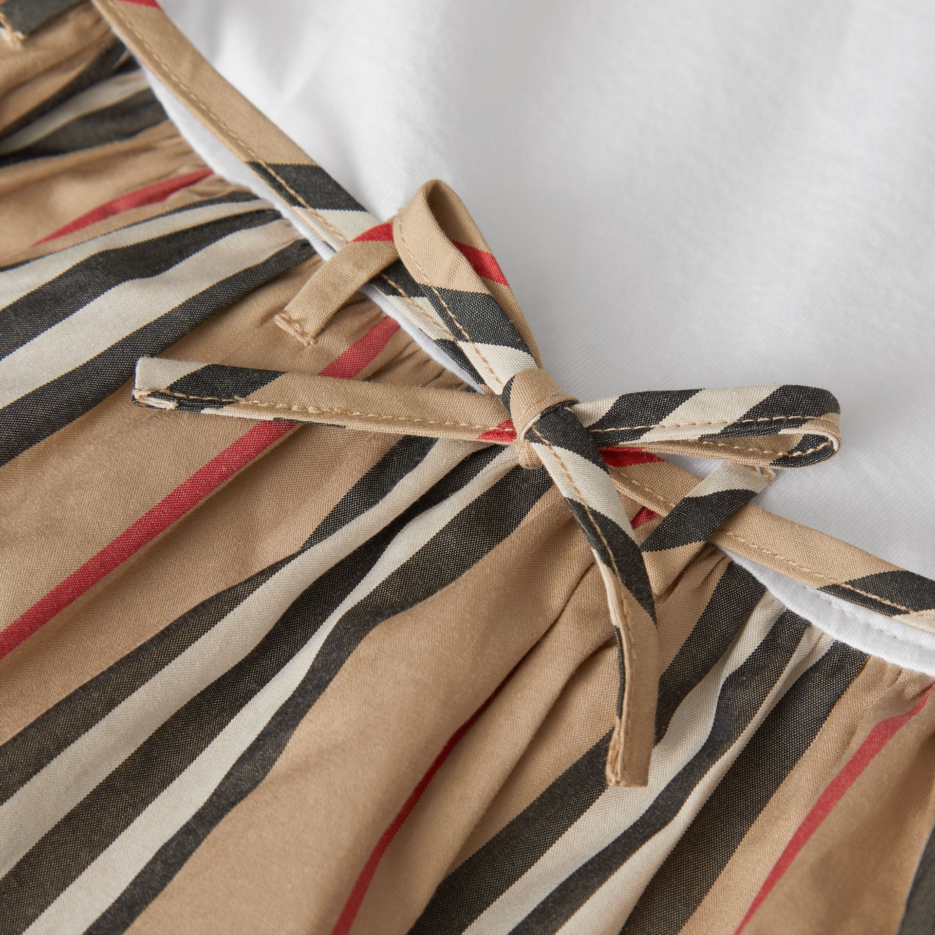 Icon Stripe Cotton Dress in White - Children | Burberry - gallery image 1