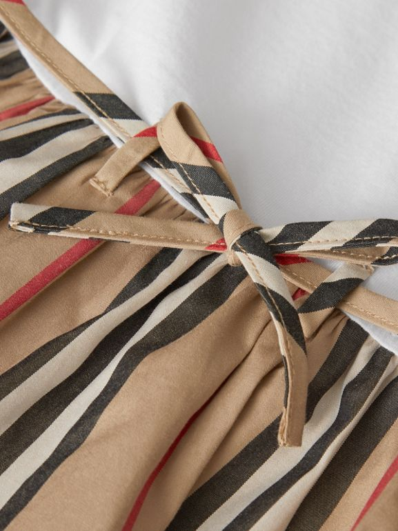 Icon Stripe Cotton Dress in White - Children | Burberry - cell image 1
