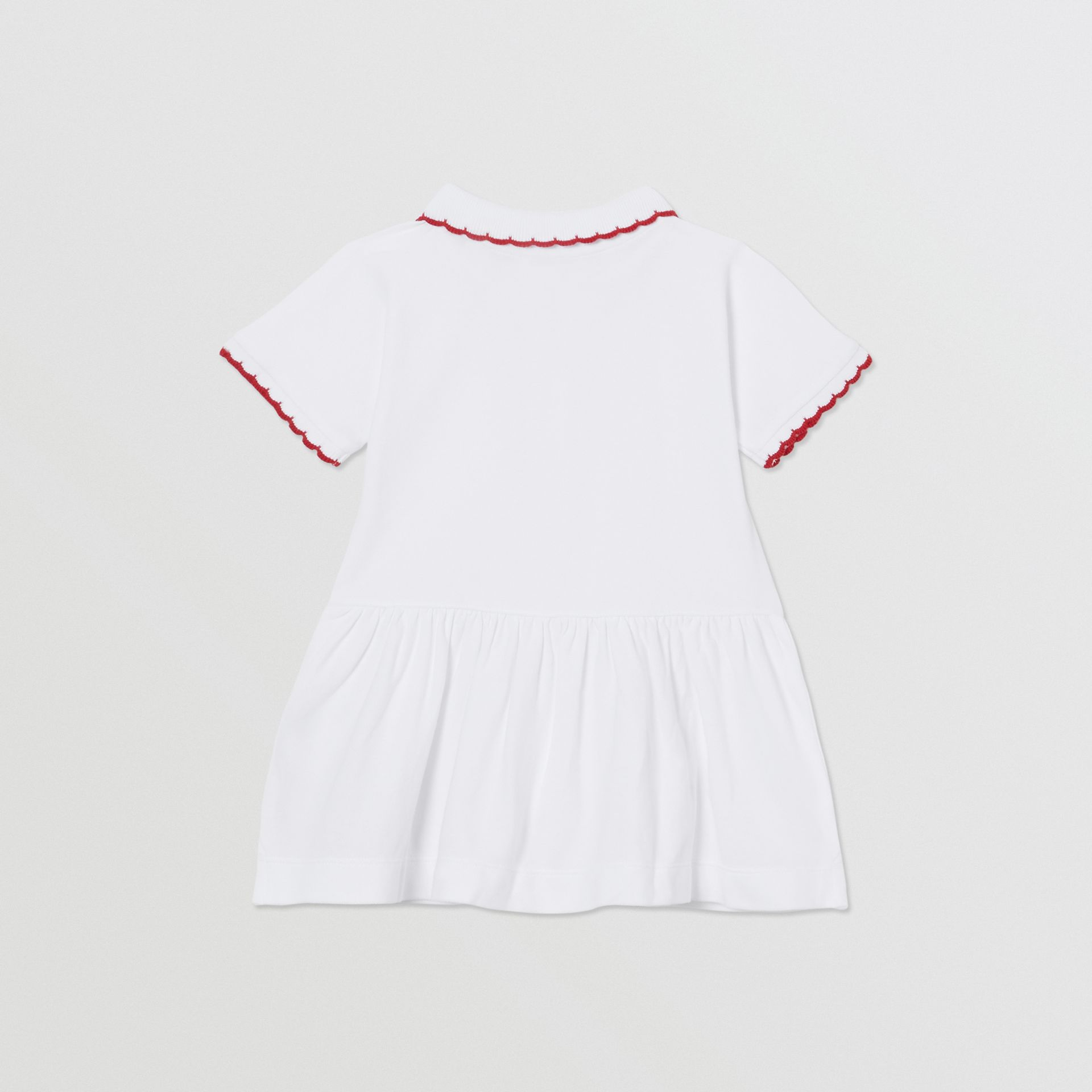 Scallop Detail Stretch Cotton Dress with Bloomers in White - Children | Burberry - gallery image 3