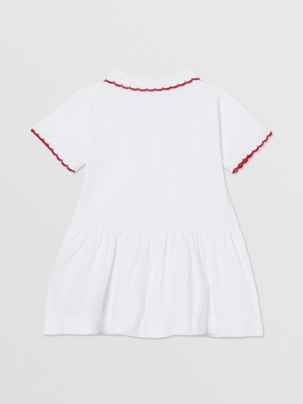 Scallop Detail Stretch Cotton Dress with Bloomers in White - Children | Burberry - cell image 3