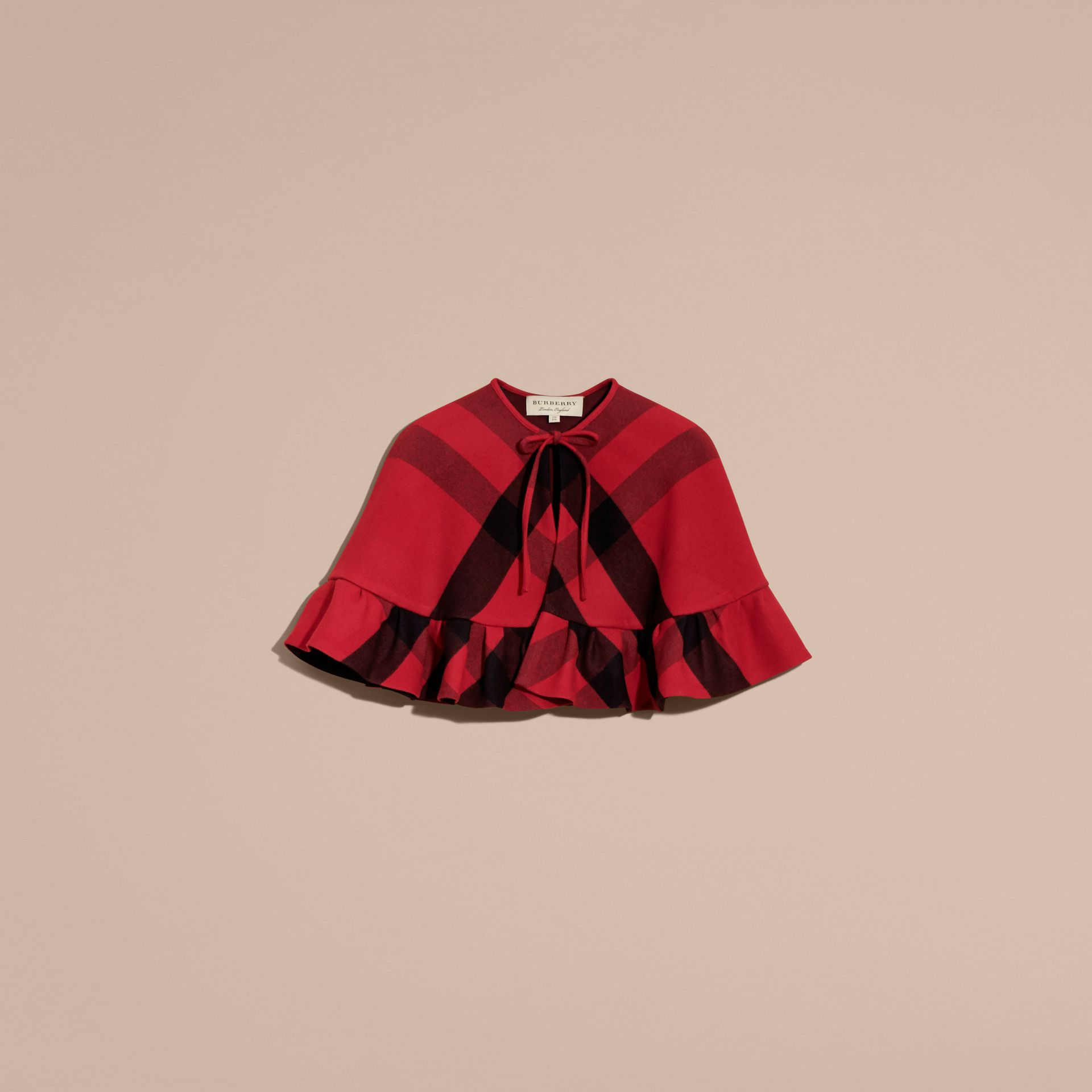 Ruffled Hem Check Wool Cape in Parade Red - gallery image 4