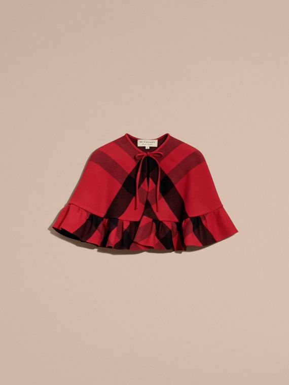 Ruffled Hem Check Wool Cape in Parade Red - cell image 3