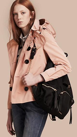 Showerproof Taffeta Trench Jacket with Detachable Hood Chalk Pink