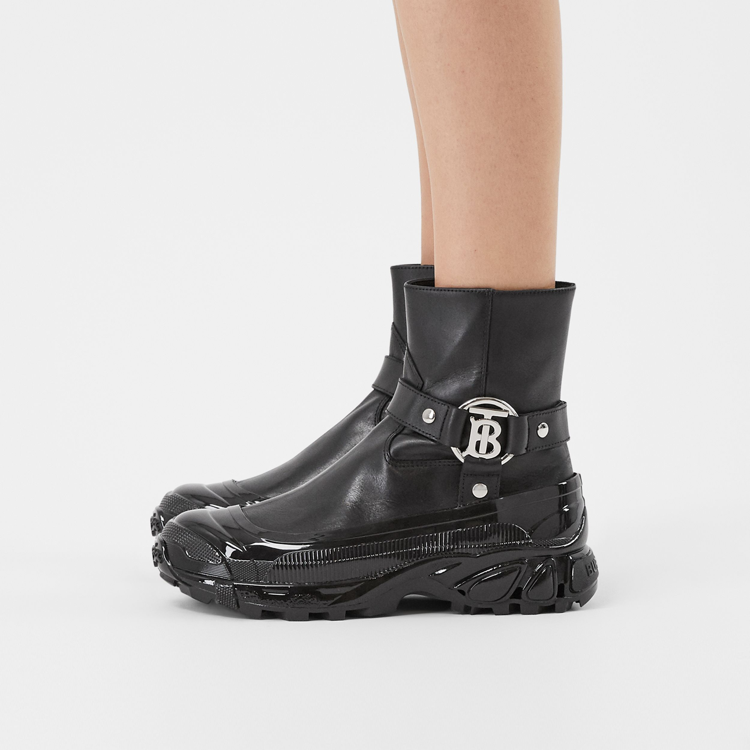 Monogram Motif Buckle Leather Boots in Black - Women | Burberry - 3