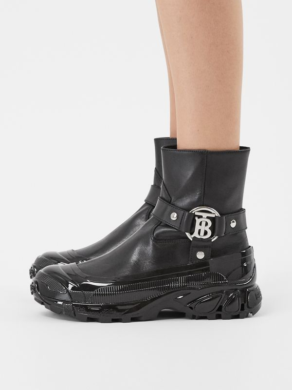 Monogram Motif Buckle Leather Boots in Black - Women | Burberry Singapore - cell image 2