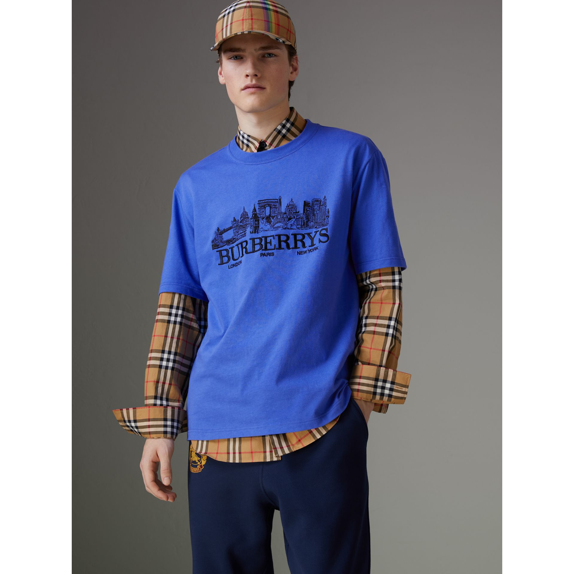 T-shirt en coton revisité (Bleu Barbeau) - Homme | Burberry Canada - photo de la galerie 4