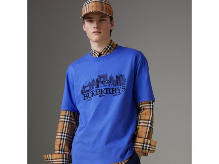 Reissued Cotton T-shirt in Cornflower Blue - Men | Burberry - cell image 4
