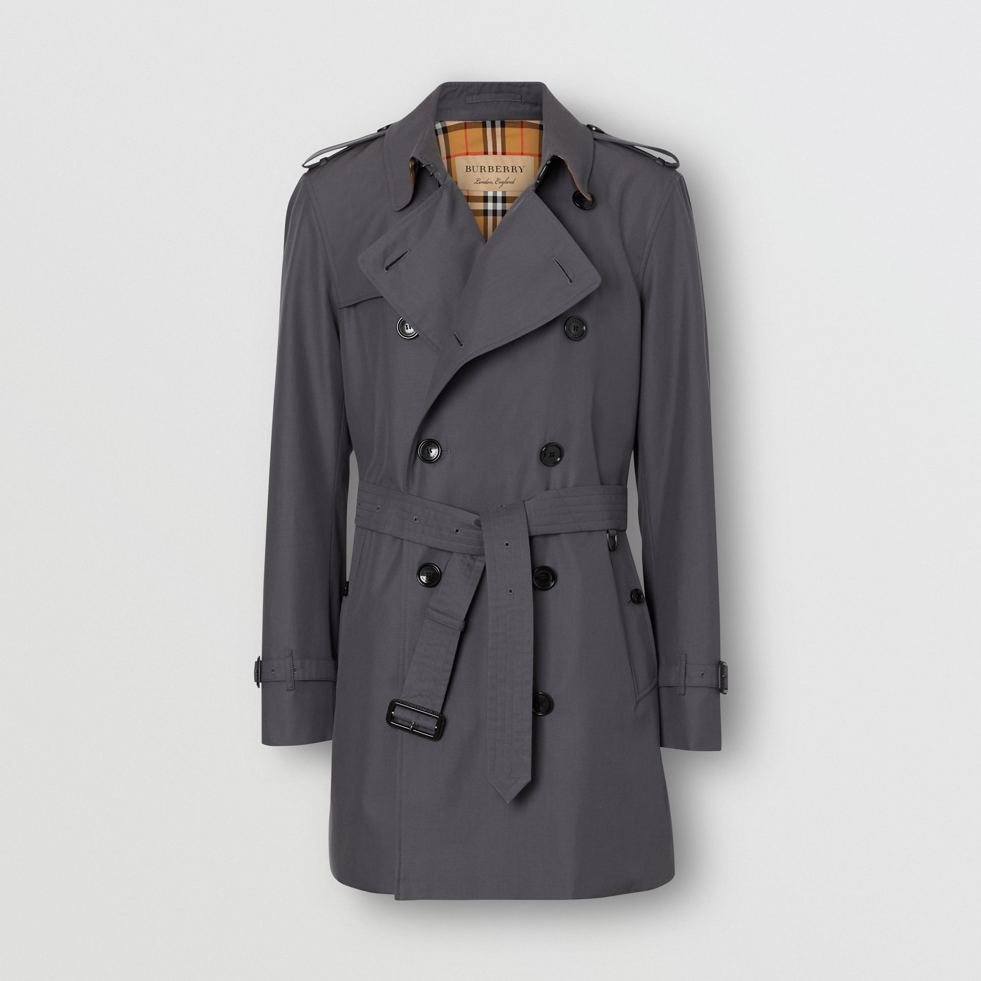 Short Chelsea Fit Trench Coat in Mid Grey - Men | Burberry Australia - gallery image 3