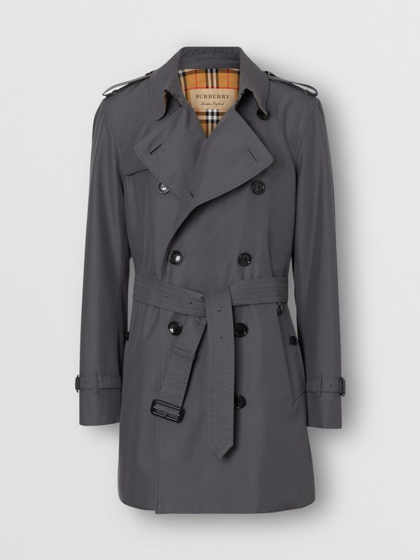 Short Chelsea Fit Trench Coat in Mid Grey - Men | Burberry - cell image 3