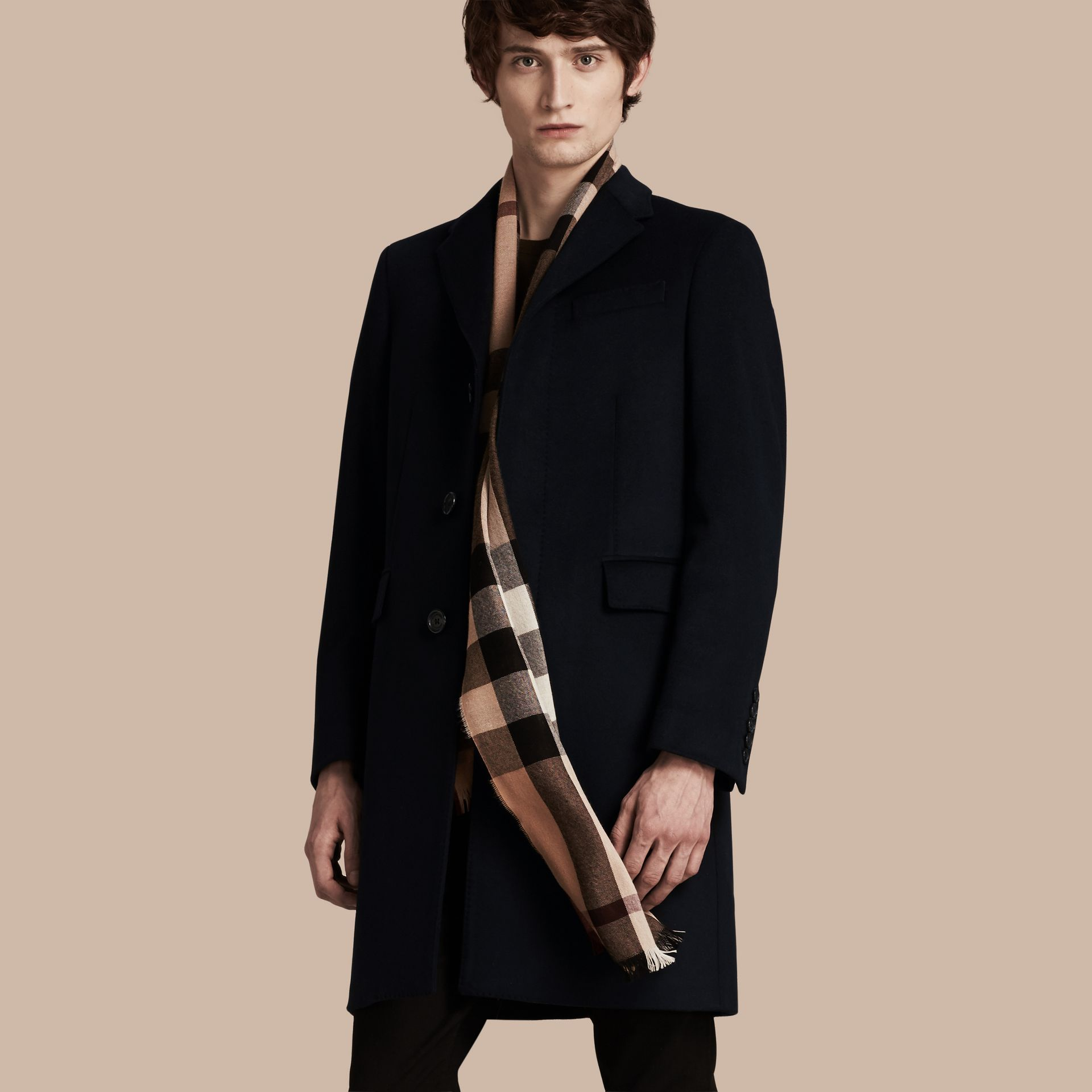 Wool Cashmere Tailored Coat Navy - gallery image 7