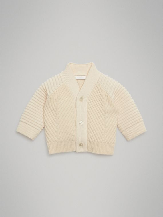 Rib Knit Wool Cashmere Cardigan in Ivory