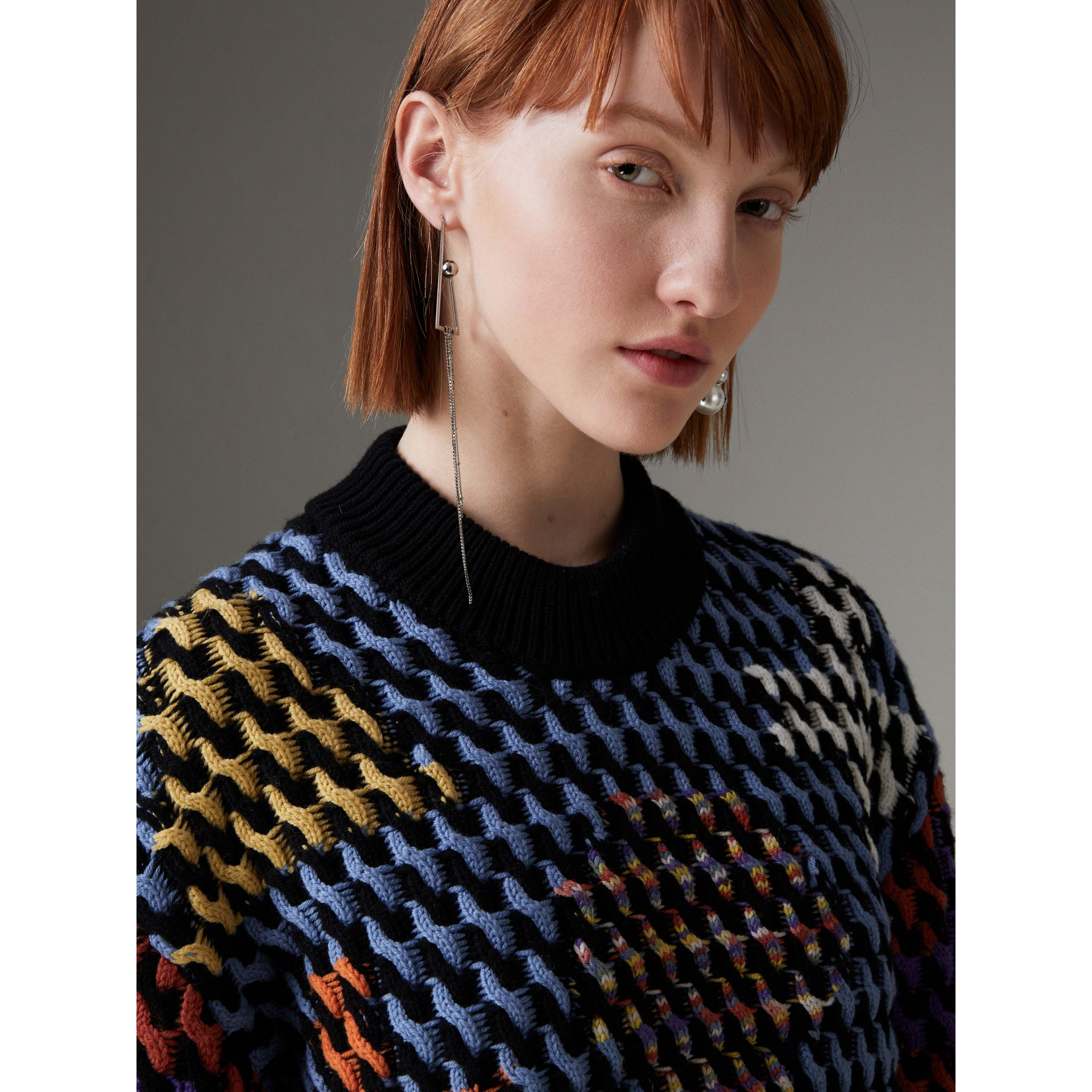 Multicoloured Cable Knit Wool Sweater in Powder Blue/multicolour - Women | Burberry - gallery image 1