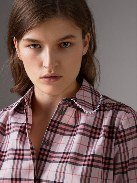Lace Trim Collar Check Cotton Shirt Dress in Pink Azalea - Women | Burberry - cell image 1