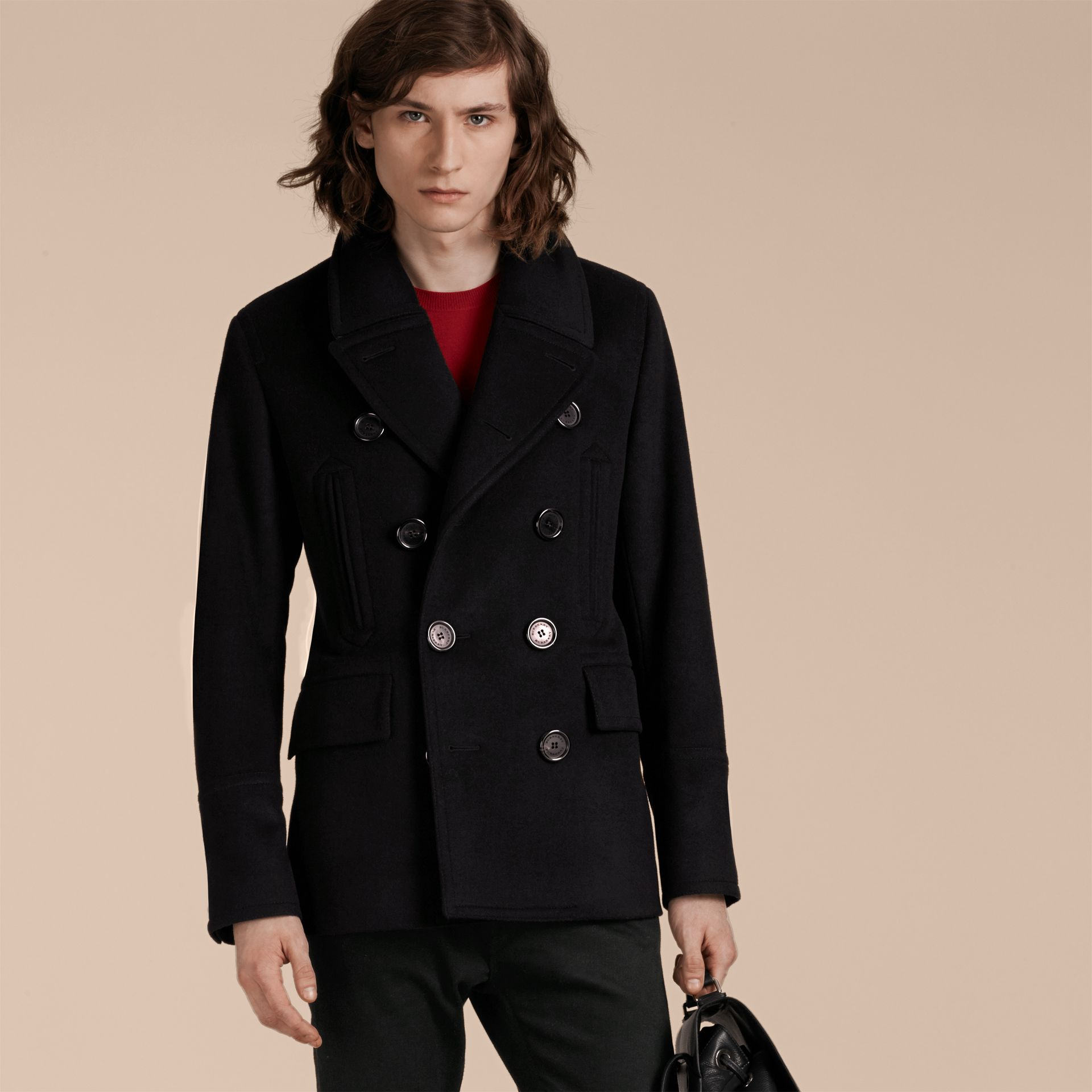 Wool Cashmere Pea Coat Black - gallery image 2