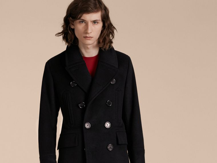 Wool Cashmere Pea Coat in Black - cell image 1
