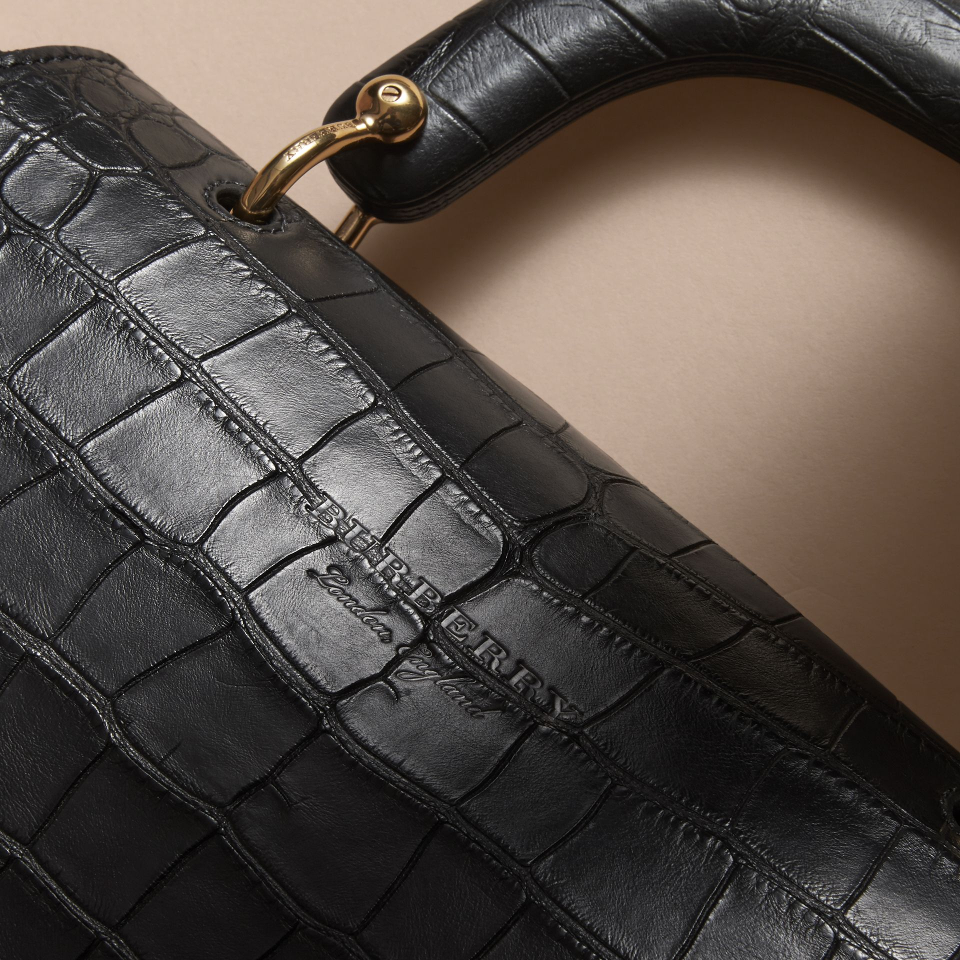 The Medium DK88 Top Handle Bag in Alligator in Black - Women | Burberry - gallery image 5