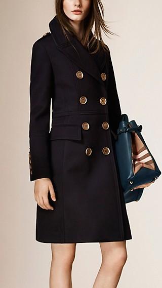 Leather Trim Wool Military Coat