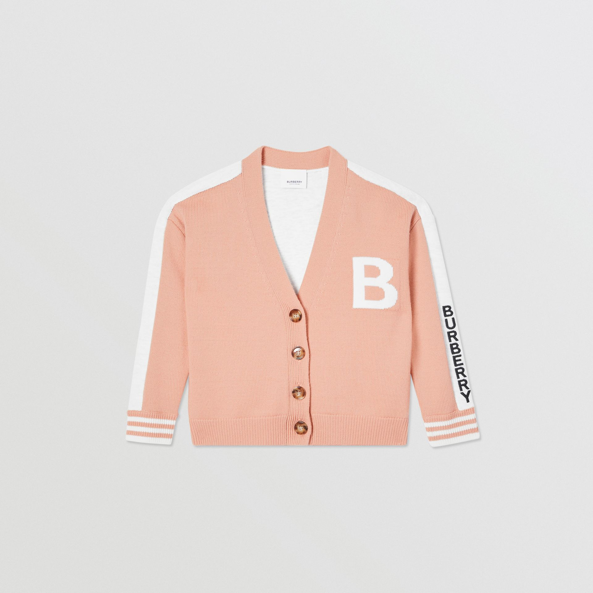 B Motif Merino Wool Jacquard Cardigan in Peach - Girl | Burberry - gallery image 0