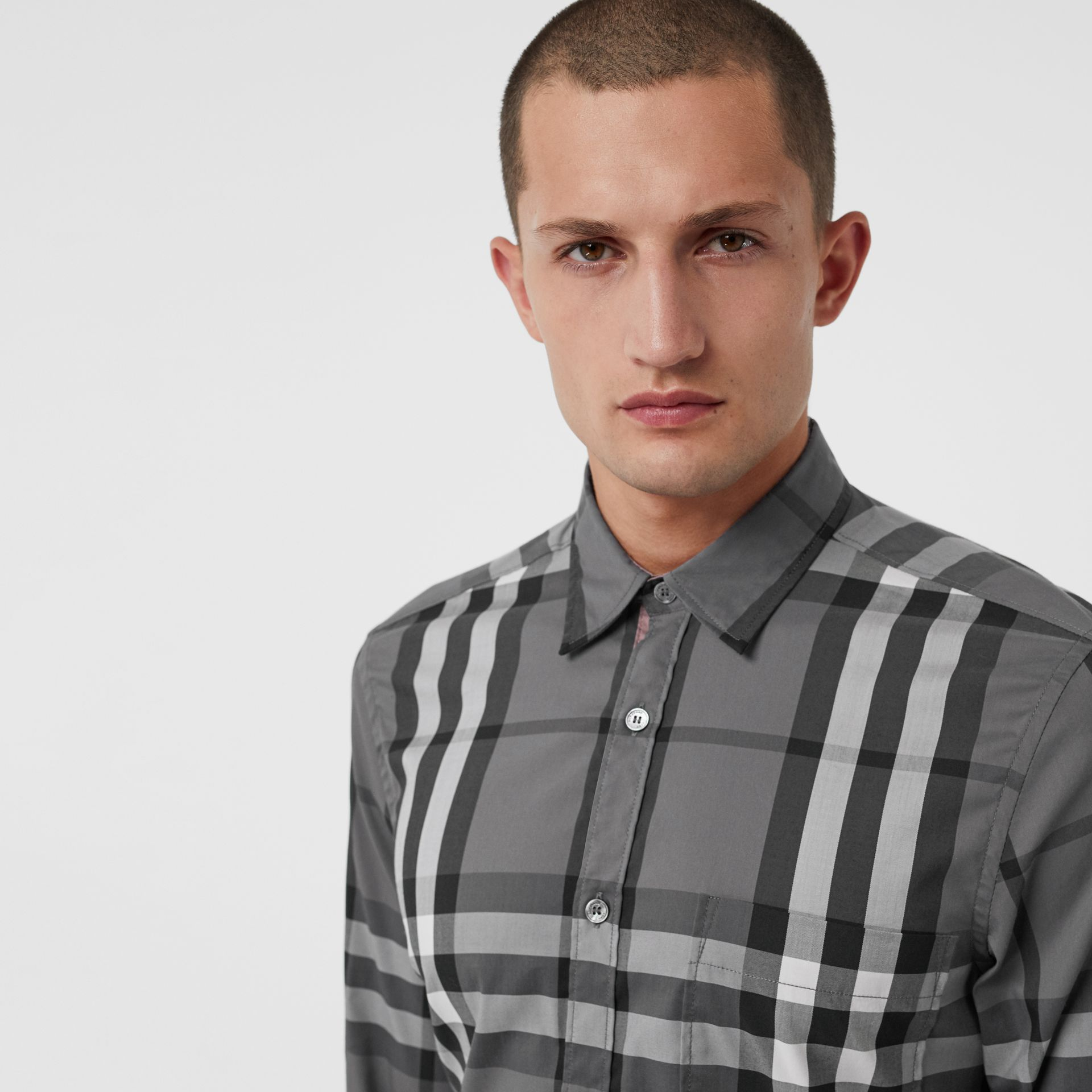 Check Stretch Cotton Shirt in Charcoal - Men | Burberry - gallery image 1