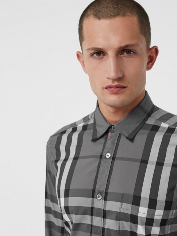 Check Stretch Cotton Shirt in Charcoal - Men | Burberry Canada - cell image 1
