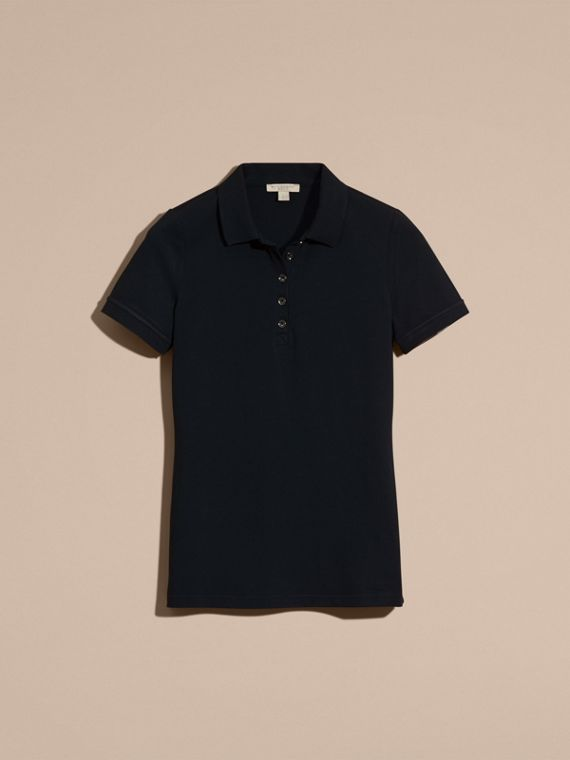 Navy Check Trim Stretch Cotton Piqué Polo Shirt Navy - cell image 3
