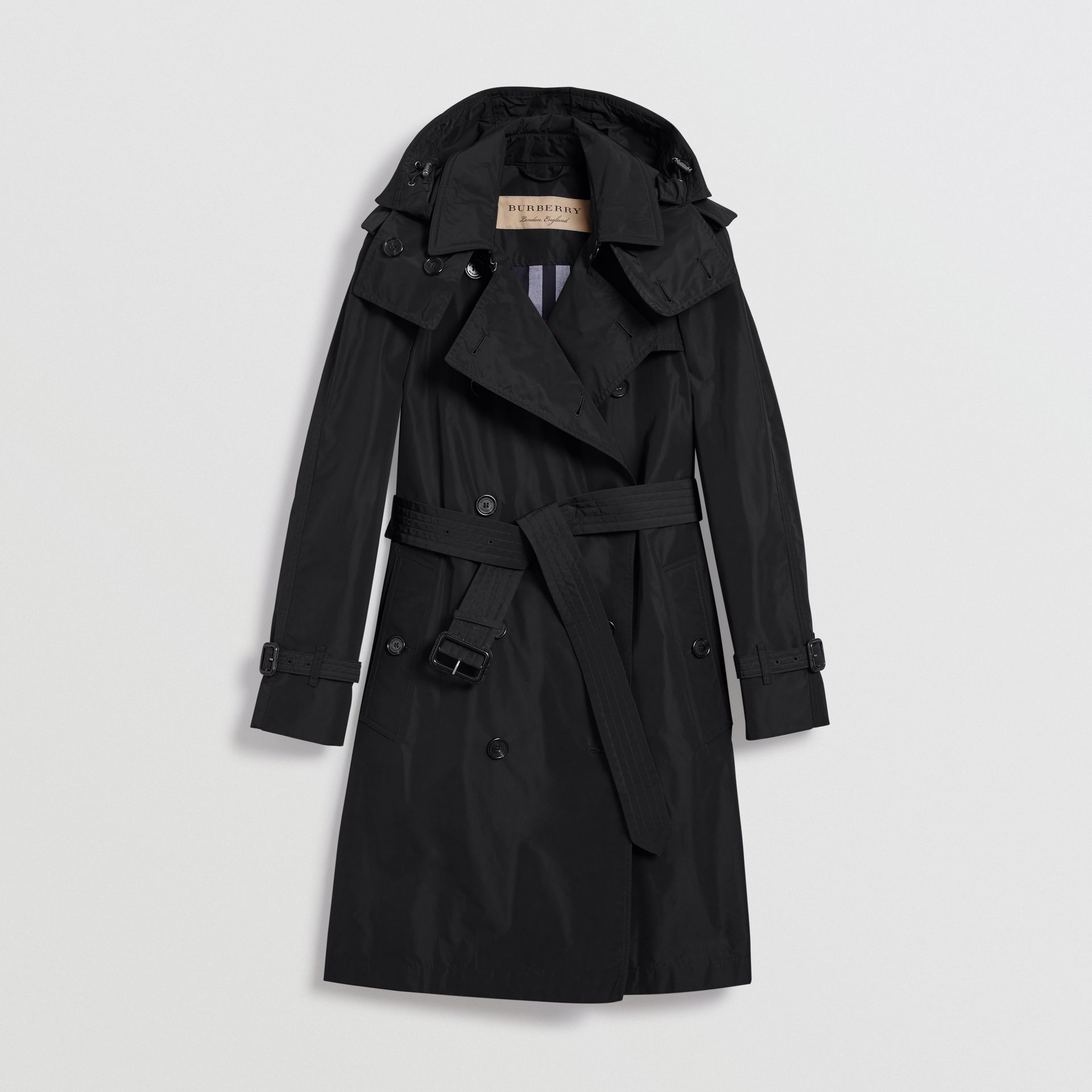 Detachable Hood Taffeta Trench Coat in Black - Women | Burberry Singapore - gallery image 3