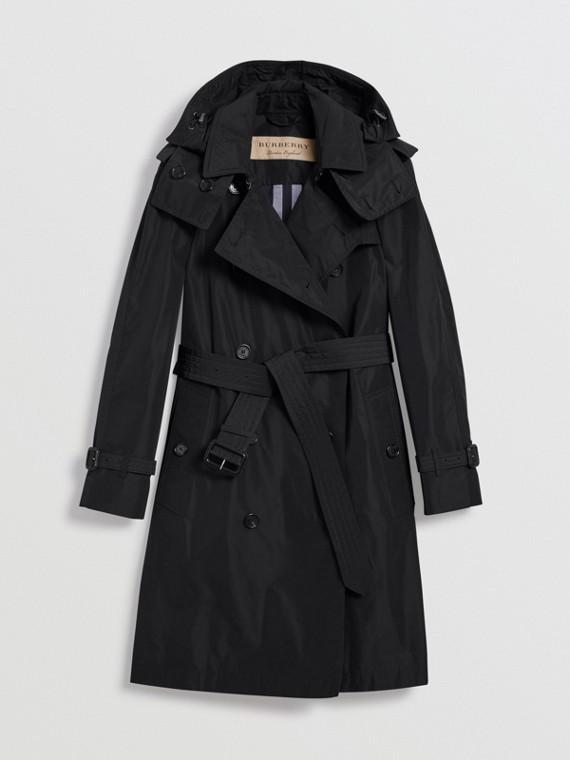 Detachable Hood Taffeta Trench Coat in Black