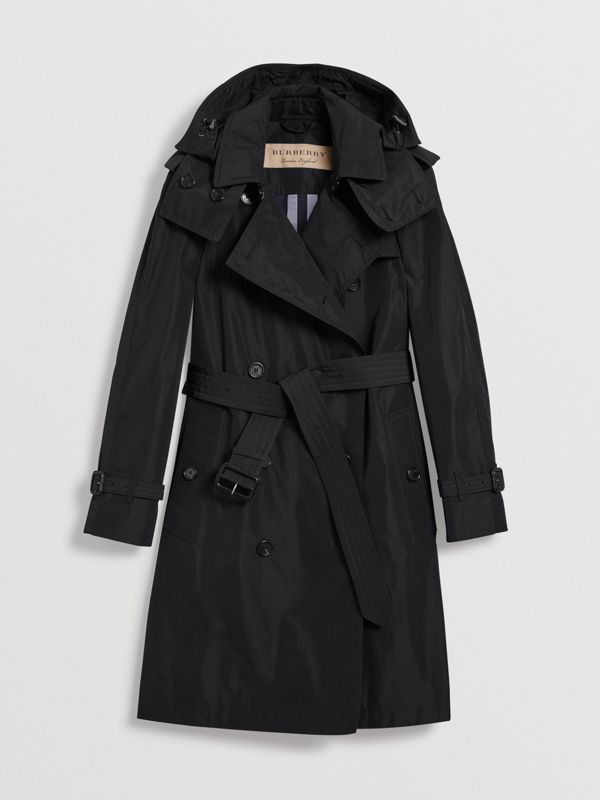 Detachable Hood Taffeta Trench Coat in Black - Women | Burberry Canada - cell image 3