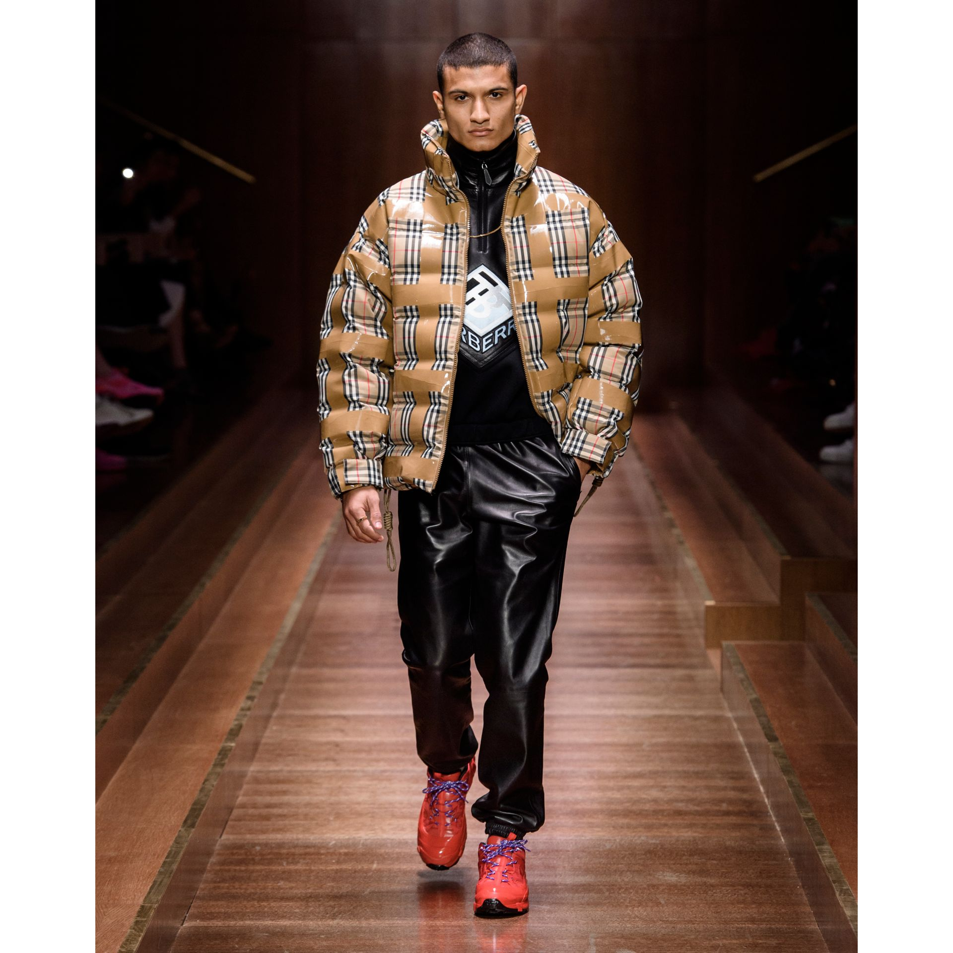 Logo Graphic Lambskin Funnel Neck Track Top in Black - Men | Burberry Hong Kong S.A.R - gallery image 5