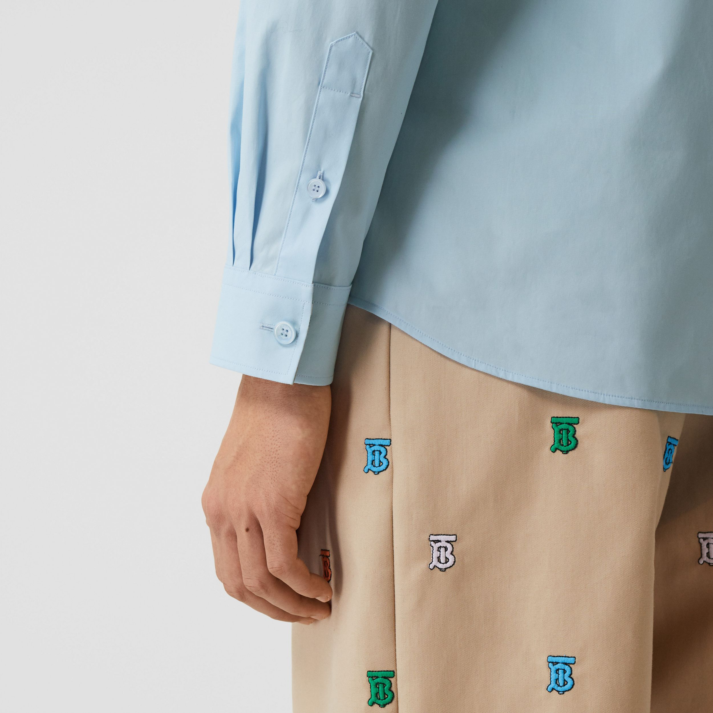 Slim Fit Monogram Motif Stretch Cotton Poplin Shirt in Pale Blue - Men | Burberry Hong Kong S.A.R. - 2