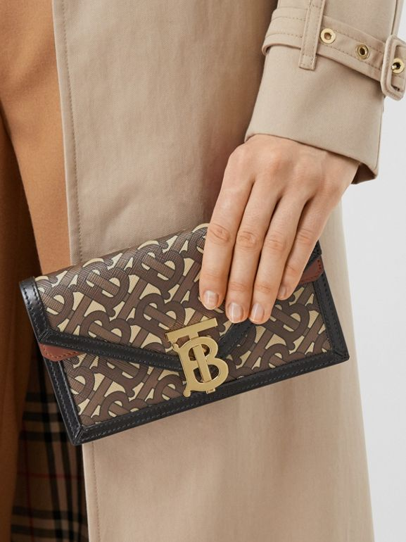 Belted Monogram E-canvas TB Envelope Clutch in Bridle Brown - Women | Burberry - cell image 1
