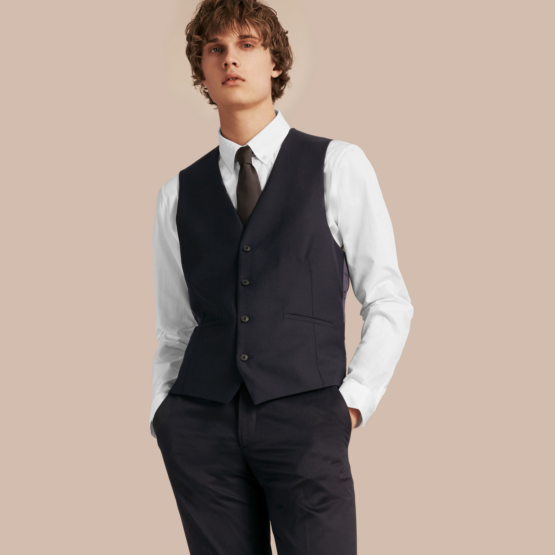 Slim Fit Wool Waistcoat in Navy - Men | Burberry United Kingdom - gallery image 3