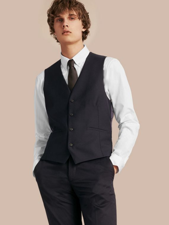Slim Fit Wool Waistcoat in Navy - Men | Burberry - cell image 3