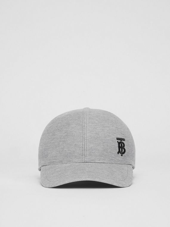 Monogram Motif Baseball Cap in Pale Grey Melange