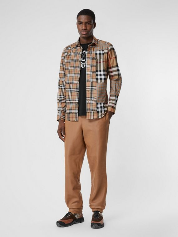 Classic Fit Patchwork Check Cotton Shirt in Archive Beige