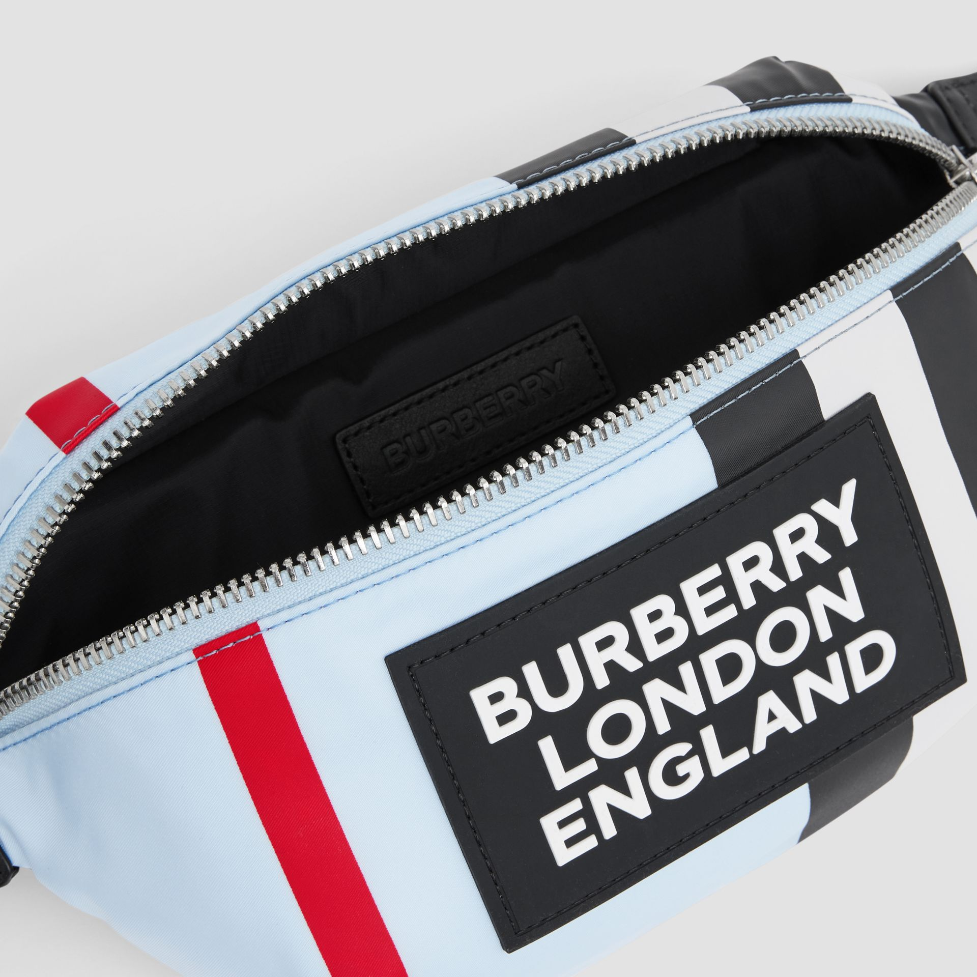 Logo Appliqué Icon Stripe ECONYL® Bum Bag in Pale Blue - Children | Burberry United Kingdom - gallery image 3