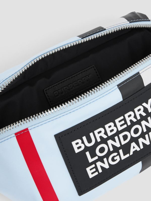 Logo Appliqué Icon Stripe ECONYL® Bum Bag in Pale Blue - Children | Burberry United Kingdom - cell image 3