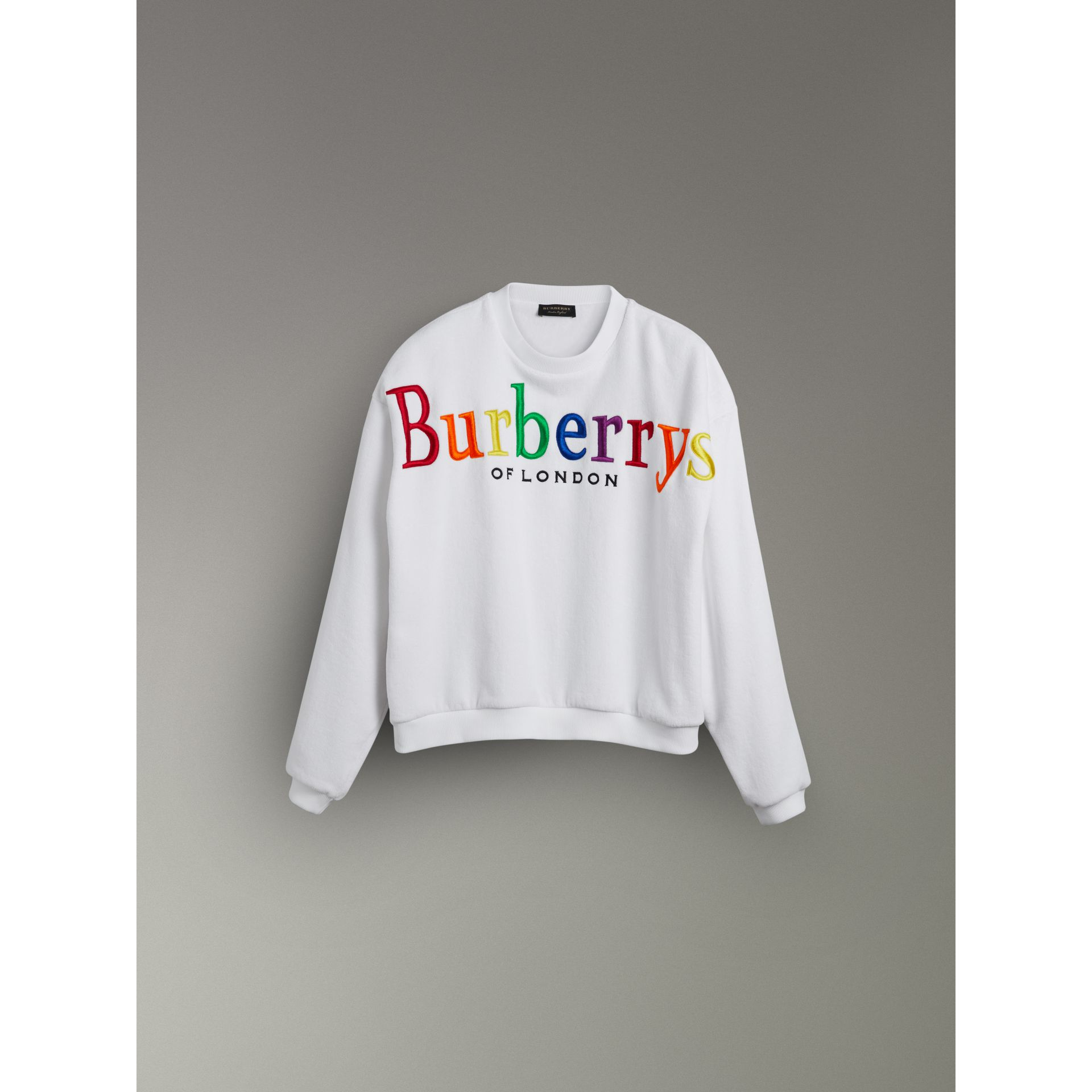 Archive Logo Towelling Sweatshirt in White - Women | Burberry Australia - gallery image 3