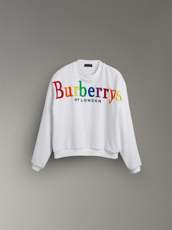 Archive Logo Towelling Sweatshirt in White - Women | Burberry Australia - cell image 3