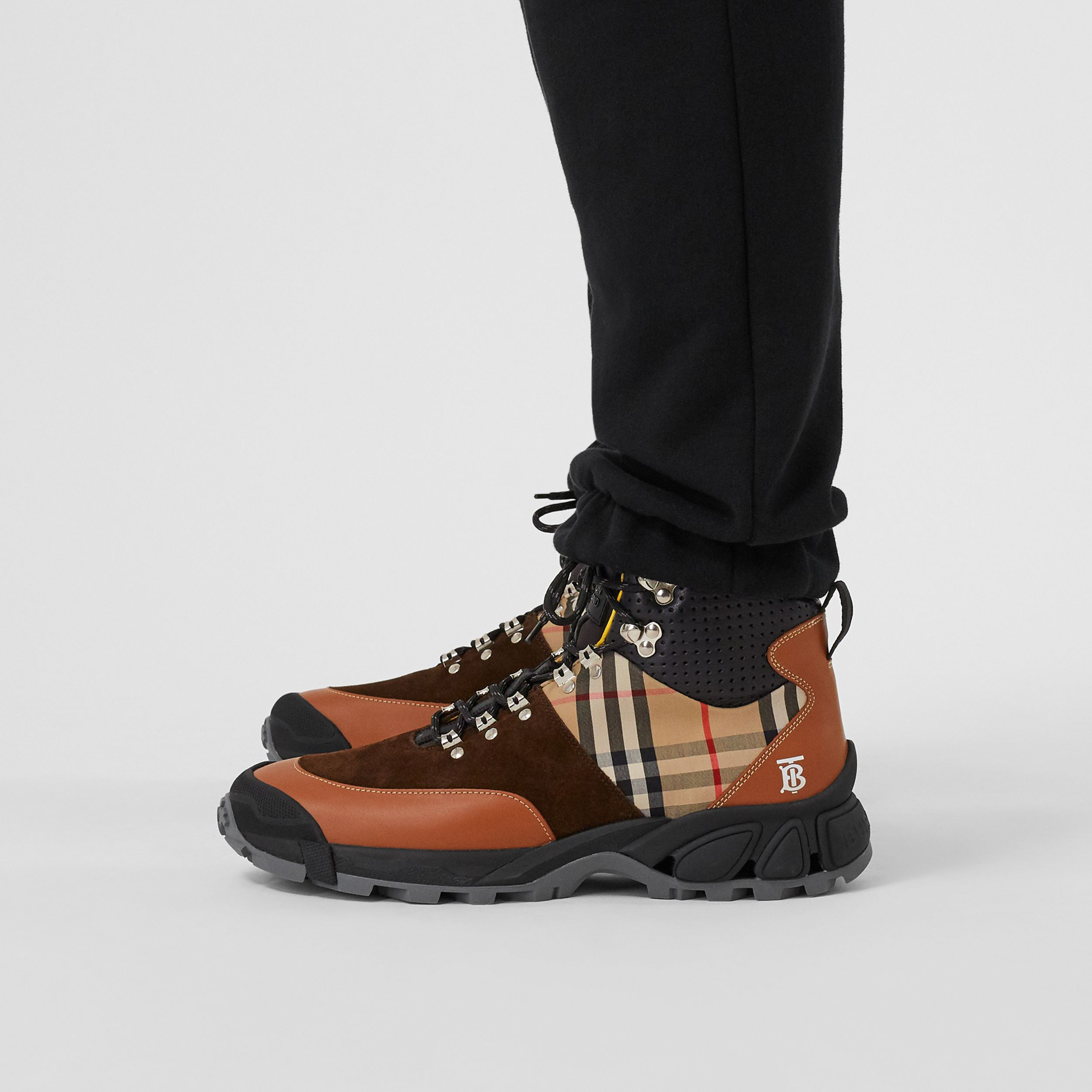 Leather, Vintage Check Cotton and Suede Tor Boots in Tan Mix - Men | Burberry Australia - 3