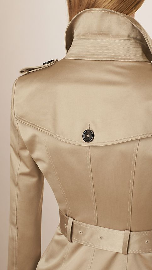 Stone Cotton Sateen Trench Coat - Image 5