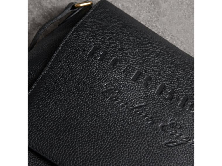 Medium Embossed Leather Messenger Bag in Black | Burberry - cell image 1