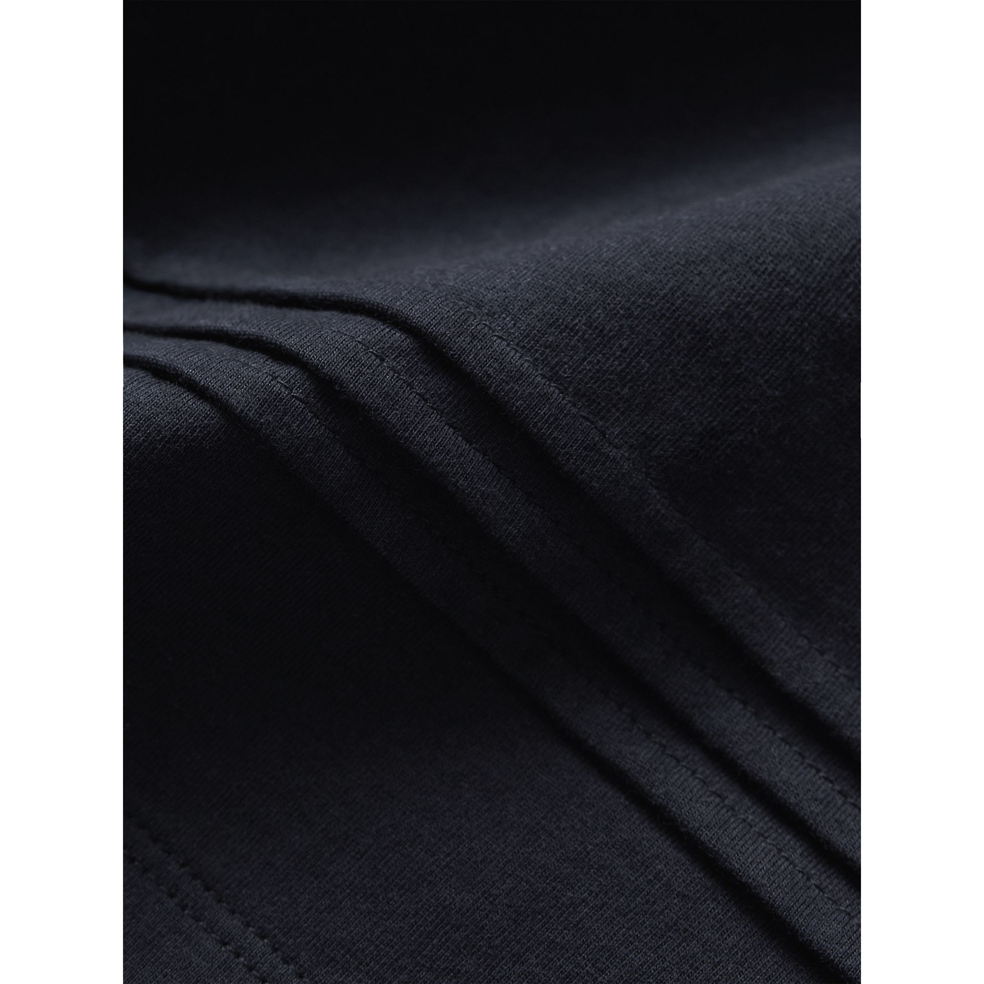 Long-sleeve Pleat and Check Detail Cotton T-shirt in Navy - Girl | Burberry - gallery image 1