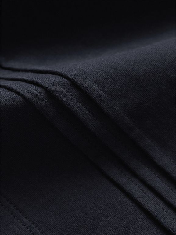 Long-sleeve Pleat and Check Detail Cotton T-shirt in Navy - Girl | Burberry United States - cell image 1
