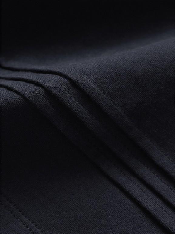 Camiseta com mangas longas de algodão com detalhe xadrez e pregas (Azul Marinho) - Menina | Burberry - cell image 1